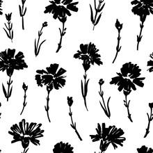 Ink Brush Flowers Vector Seaml...
