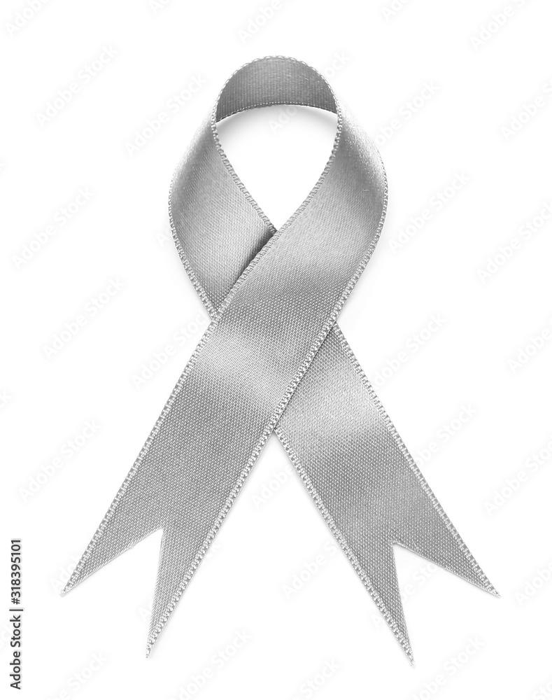 Fototapeta Silver ribbon on white background