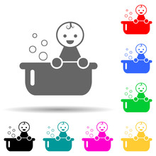 Baby In A Bathing Bath Multi Color Style Icon. Simple Glyph, Flat Vector Of Baby Icons For Ui And Ux, Website Or Mobile Application