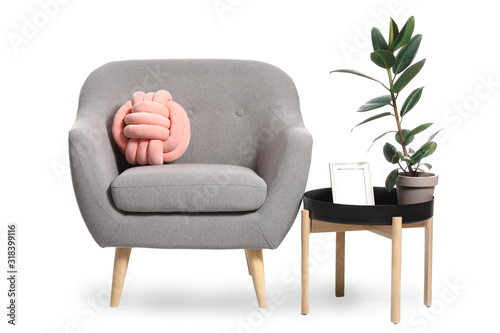 Fotografie, Obraz Modern armchair and table on white background