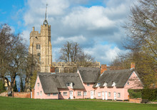 Thatched Cottage Painted In Suffolk Pink