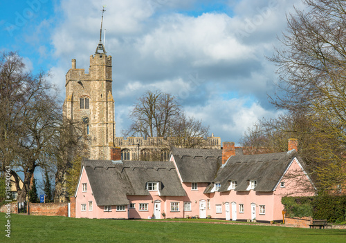 Fotografie, Obraz Thatched cottage painted in Suffolk pink