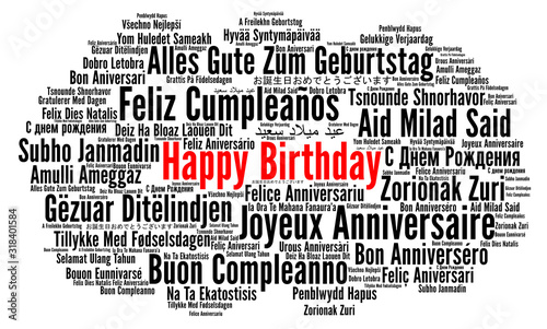 Happy Birthday in different languages word cloud Wallpaper Mural