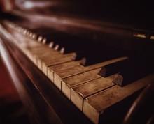 Close-Up Of Old Piano Keys