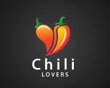 Two Chili Form Love Heart Icon Logo Design Inspiration