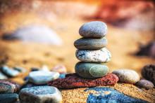 Sea Pebble Stones Tower On Bea...