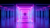 Fototapeta Perspektywa 3d - 3d render, abstract neon background, pink glowing lines, square shape, corridor, ultraviolet light, virtual reality space
