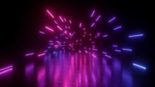 3d Render, Abstract Neon Backg...