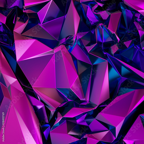 Fotografie, Obraz 3d render, abstract purple crystal background, polygonal faceted structure, meta