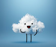 Leinwandbild Motiv 3d render, cute white cotton cloud character, smiling mascot isolated, blue background. Happy emotion. Facial expression. Funny little guy looking at camera. Weather forecast icon. Kawaii illustration