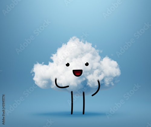 3d render, cute white cotton cloud character, smiling mascot isolated, blue background. Happy emotion. Facial expression. Funny little guy looking at camera. Weather forecast icon. Kawaii illustration