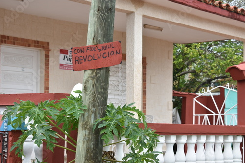 with FIdel, Raul Revolution sign in VInales Cuba Canvas-taulu
