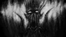 Scary Demon Face With Wings. Black And White Illustration.