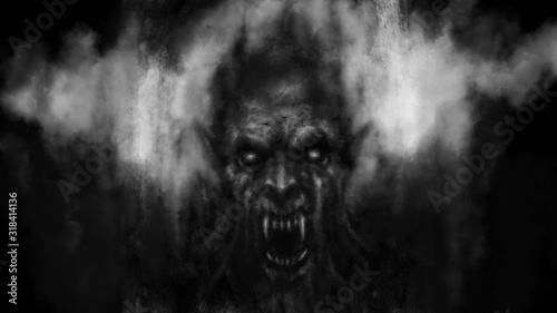 Scary vampire face in the darkness. Black and white illustration. Wallpaper Mural