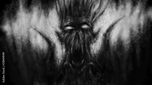 Fotografering Scary demon face with wings. Black and white illustration.