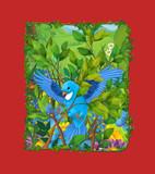 cartoon scene with beautiful bird on the meadow illustration