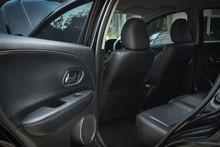 Black Leather Of Back Seat Interior Inside Modern Vehicle Car Automobile