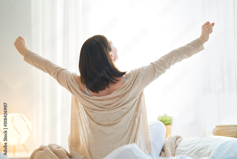 Fototapeta woman enjoying sunny morning