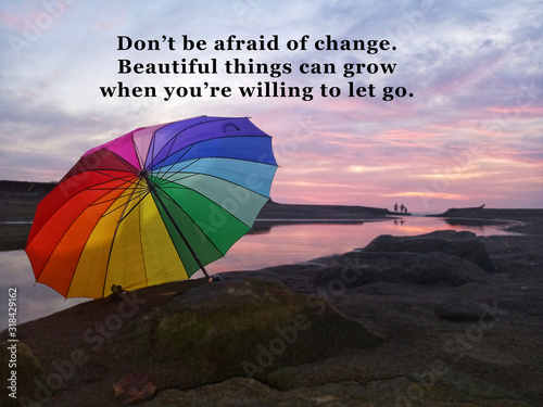 Inspirational motivational quote - Do not be afraid of change Canvas Print