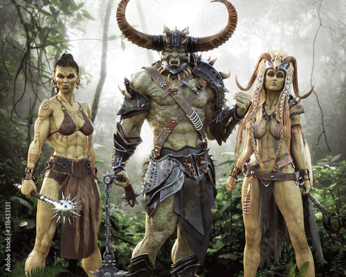 Photo Portrait fantasy Illustration of an Orc raiding party consisting of a male orc brute , hardened female warrior and mystical shaman mage