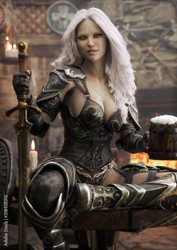 Portrait of a fantasy warrior Dark Elf female with white hair,relaxing in a medieval tavern with ale after a long journey Fototapet
