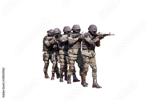 Fotomural commando with weapon during search terrorist,isolated on white bacground