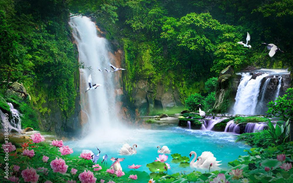 wallpaper 3D natural waterfall view