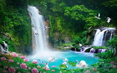 pozadina 3D pogled na prirodni vodopad