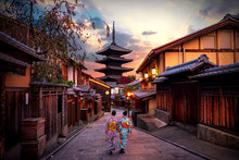 Two Geishas Wearing Traditiona...