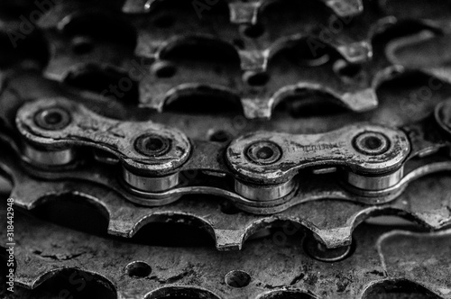 close-up of bicycle chain - fototapety na wymiar