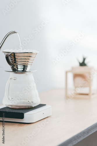 Canvas Close-Up Of Water Pouring In Coffee Maker On Table