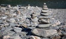 Concept Of Balance And Harmony.  Rocks On The Riverbank In New Zealand.