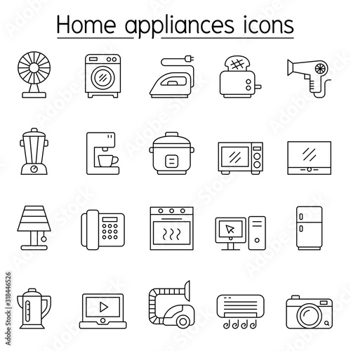 Home appliance icons set in thin line style Canvas Print