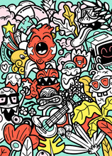 Vector Doodle Monsters Hand Drawn