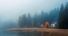 Dolomites Fog Lake