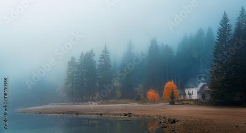 Dolomites fog lake Tablou Canvas