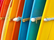 Full Frame Shot Of Colorful Surfboards