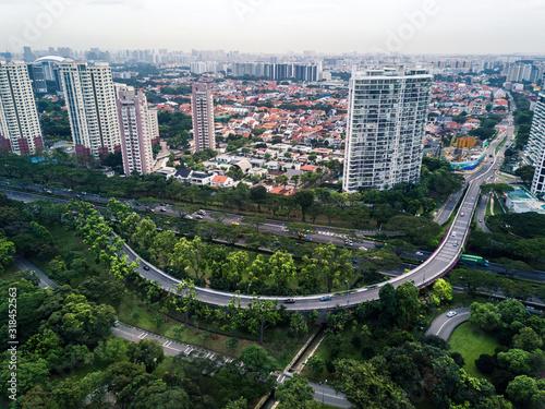 Obraz na plátně Aerial View Of Cityscape Against Sky