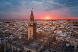Fototapeta Most - Seville Cathedral aerial view sunrise