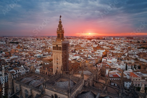 Seville Cathedral aerial view sunrise