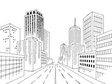 City Road Street Graphic Black White Cityscape Skyline Sketch Illustration Vector