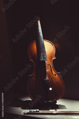 Violin On Table In Darkroom Fototapete