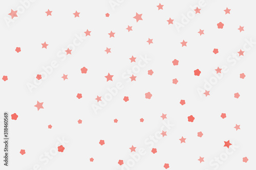 Pink stars and pink lines on the white cosmos Canvas Print