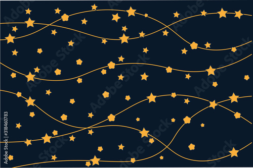 Yellow stars and yellow lines on the blue cosmos. Abstract space in a simple style. A good background on the children's theme. Vector eps illustration.