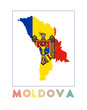 Moldova Logo. Map of Moldova with country name and flag. Classy vector illustration.
