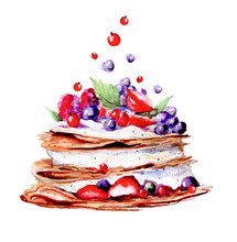 Watercolor Cream Cake. Drawing On A White Background Isolated. Watercolor Hand Drawn Sweet And Tasty Cake With Strawberry, Cherry, Blueberry. Watercolor Logo. Berry Splash.