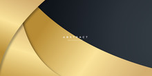 Black Gold Curve Abstract Back...