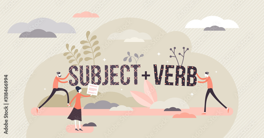 Fototapeta Sentence structure with subject and verb