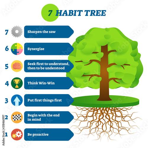 Fotografia 7 habit tree success mindset stages vector illustration