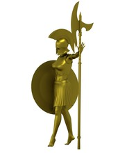 Warrior Woman Character, 3D Re...